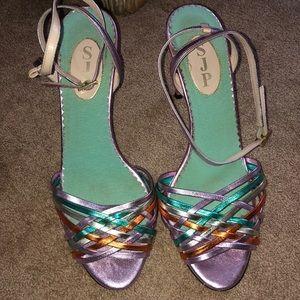 SJP  metallic rainbow ankle strap heels
